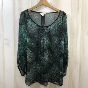 Zoa Green Floral Sheer Blouse Small Watercolor S